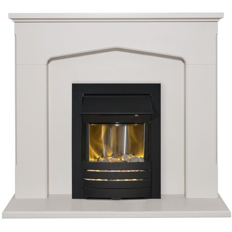 Adam Cotswold Fireplace Suite in Stone Effect with Helios Electric Fire in Black, 48 Inch