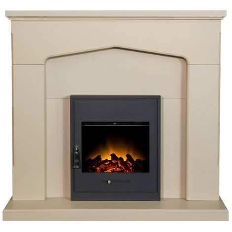 Adam Cotswold Fireplace Suite in Stone Effect with Oslo Electric Fire in Black, 48 Inch
