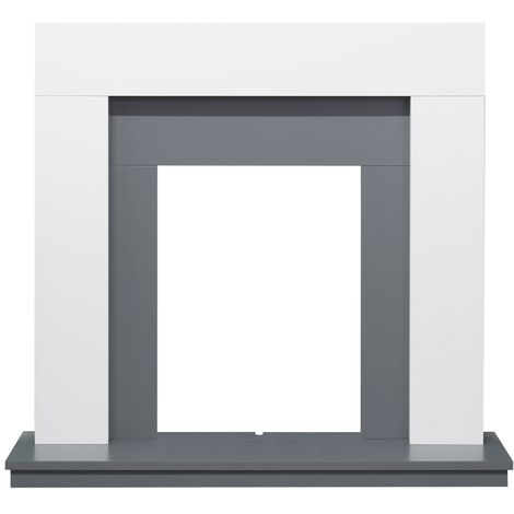 Adam Dakota Fireplace in Pure White & Grey, 39 Inch