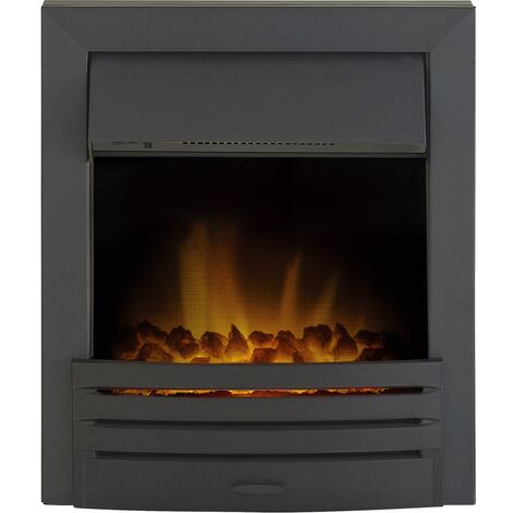 Adam Eclipse Black Inset Electric Fire Coal Heater Heating Real Flame Effect