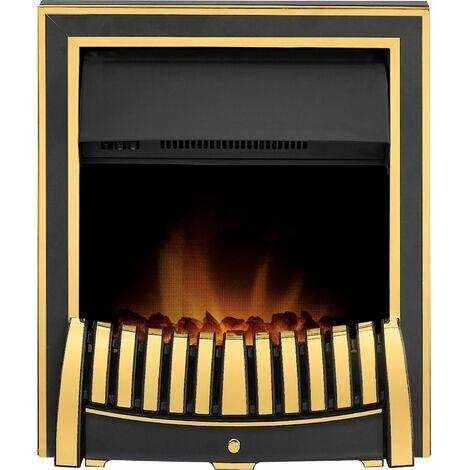 Adam Elan Brass Inset Electric Fire Coal Heater Heating Real Flame Coal Effect