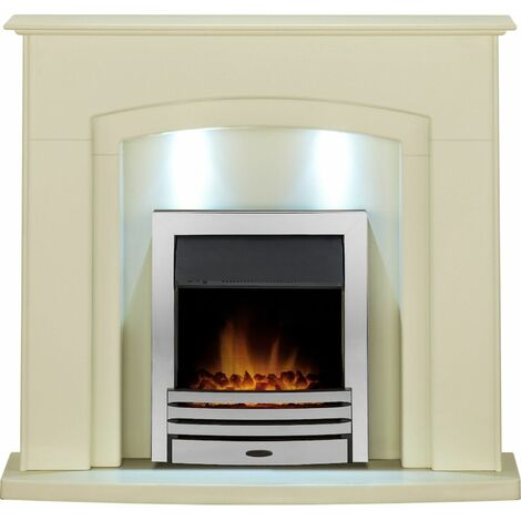 Adam Falmouth Surround Fireplace Stove Fire Heater Heating Suite Flame Chrome