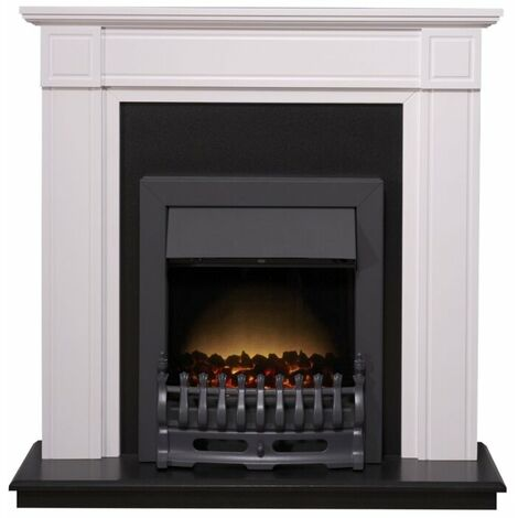 Adam Georgian Fireplace Suite in Pure White with Blenheim Electric Fire in Black, 39 Inch