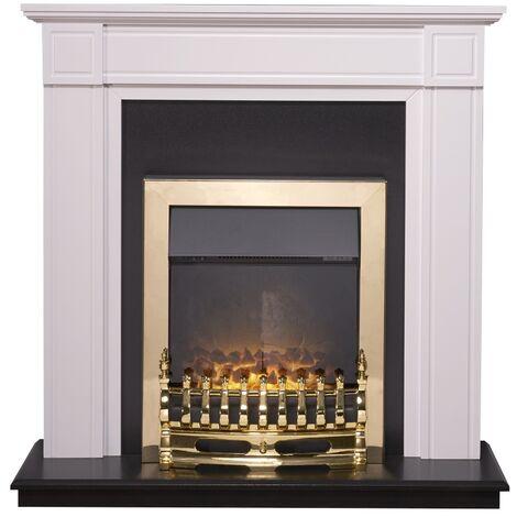 Adam Georgian Fireplace Suite in Pure White with Blenheim Electric Fire in Brass, 39 Inch