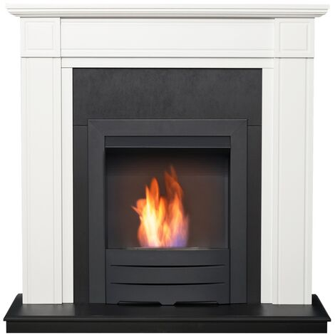 Adam Georgian Fireplace Suite in Pure White with Colorado Bio Ethanol Fire in Black, 39 Inch