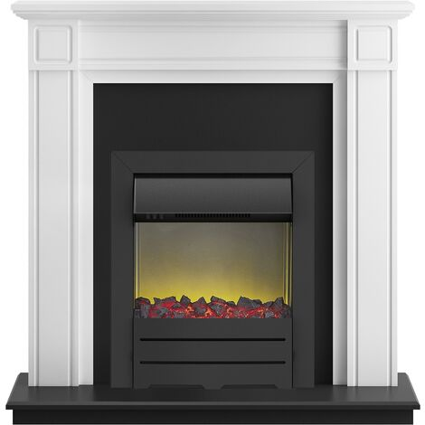 Adam Georgian Fireplace Suite in Pure White with Colorado Electric Fire in Black, 39 Inch