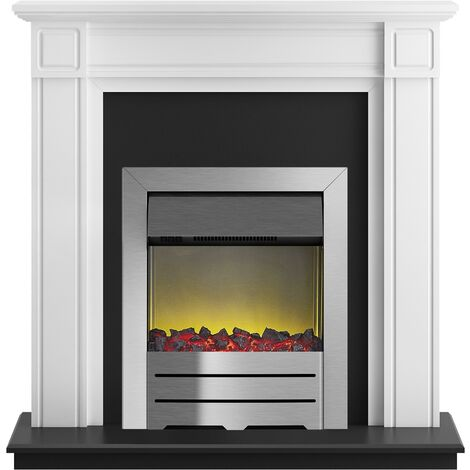 Adam Georgian Fireplace Suite in Pure White with Colorado Electric Fire in Brushed Steel, 39 Inch