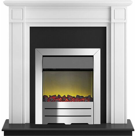 Adam Georgian Fireplace Suite in Pure White with Colorado Electric Fire in Chrome, 39 Inch