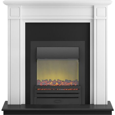 Adam Georgian Fireplace Suite in Pure White with Eclipse Electric Fire in Black, 39 Inch