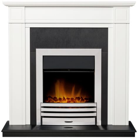 Adam Georgian Fireplace Suite in Pure White with Eclipse Electric Fire in Chrome, 39 Inch