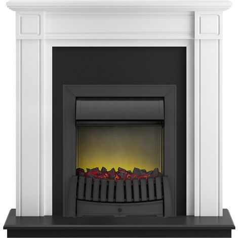 Adam Georgian Fireplace Suite in Pure White with Elan Electric Fire in Black, 39 Inch