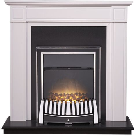 Adam Georgian Fireplace Suite in Pure White with Elan Electric Fire in Chrome, 39 Inch