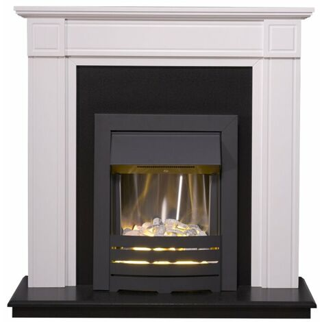 Adam Georgian Fireplace Suite in Pure White with Helios Electric Fire in Black, 39 Inch