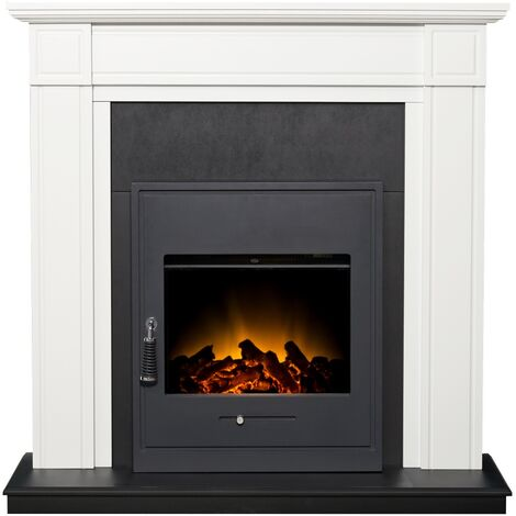 Adam Georgian Fireplace Suite in Pure White with Oslo Electric Fire in Black, 39 Inch