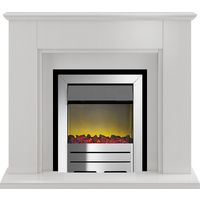 Adam Greenwich Fireplace Suite in Stone Effect with Colorado Electric Fire in Chrome, 45 Inch