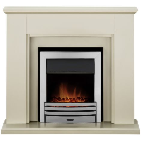 Adam Greenwich Fireplace Suite in Stone Effect with Eclipse Electric Fire in Chrome, 45 Inch