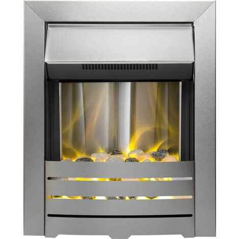 Adam Helios Electric Fire in Brushed Steel