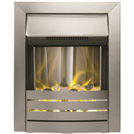 Adam Helios Steel Brushed Inset Electric Fire Heater Heating Real Flame Effect