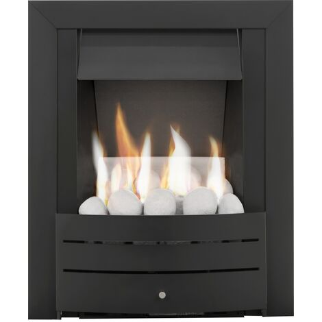"""main image of """"Adam Hera Slimline Gas Fire in Black with Pebble Bed"""""""