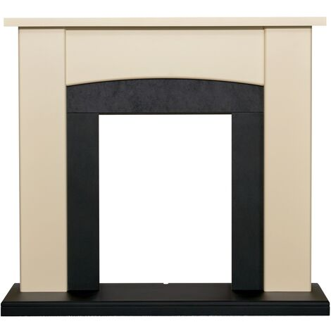 Adam Holden Fireplace in Cream & Black, 39 Inch
