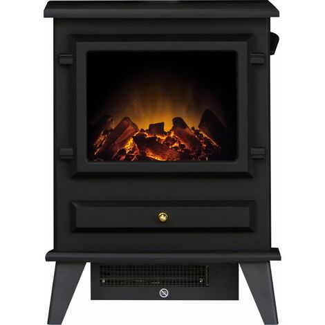 Adam Hudson Freestanding Stove Fire Heater Heating Real Log Flame Effect Black