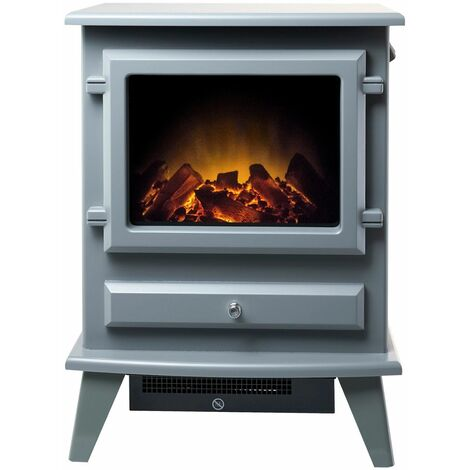 Adam Hudson Freestanding Stove Fire Heater Heating Real Log Flame Effect Grey