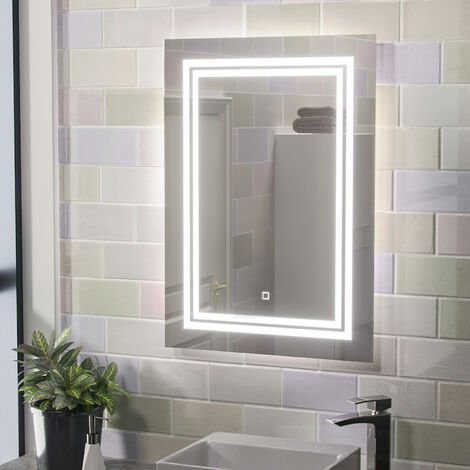 Adam Illuminated LED Bathroom Mirror with Shaver Socket and Touch Switch
