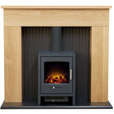 Adam Innsbruck Stove Fireplace in Oak with Bergen Electric Stove in Charcoal Grey, 48 Inch