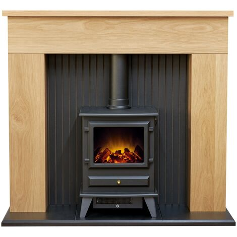 Adam Innsbruck Stove Fireplace in Oak with Hudson Electric Stove in Black, 48 Inch
