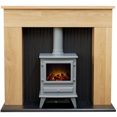 Adam Innsbruck Stove Fireplace in Oak with Hudson Electric Stove in Grey, 48 Inch