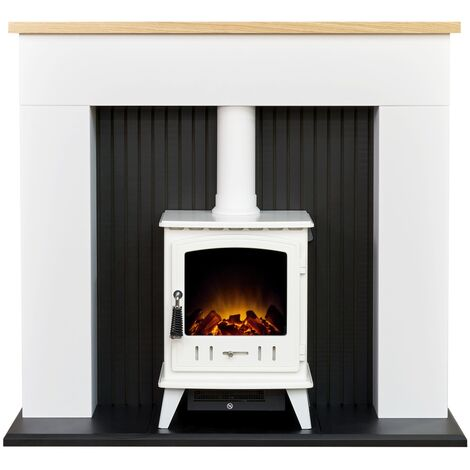 Adam Innsbruck Stove Fireplace in Pure White with Aviemore Electric Stove in White Enamel, 48 Inch