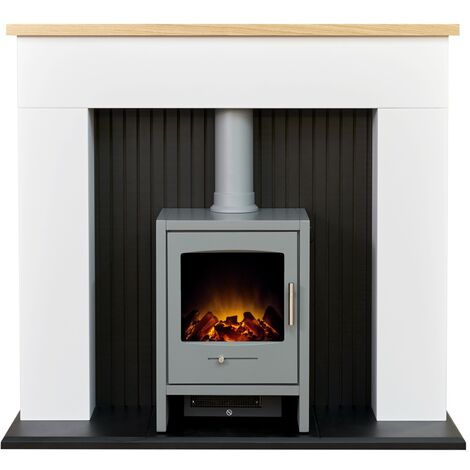 Adam Innsbruck Stove Fireplace in Pure White with Bergen Electric Stove in Grey, 48 Inch