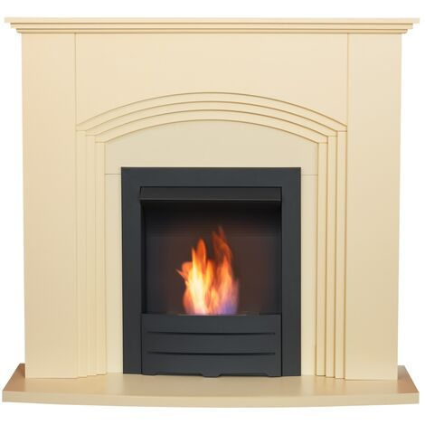 Adam Kirkdale Fireplace in Cream with Colordo Bio Ethanol Fire in Black, 45 Inch