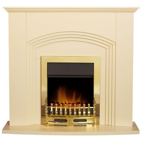 Adam Kirkwall Fireplace Suite in Cream with Blenheim Electric Fire in Brass, 45 Inch