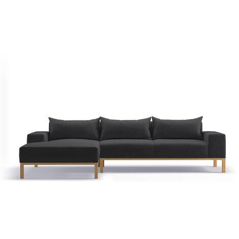Adam - L Shaped Chaise Sofa - Left - Dark Grey