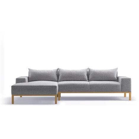 Adam - L Shaped Chaise Sofa - Left - Soft Light Grey