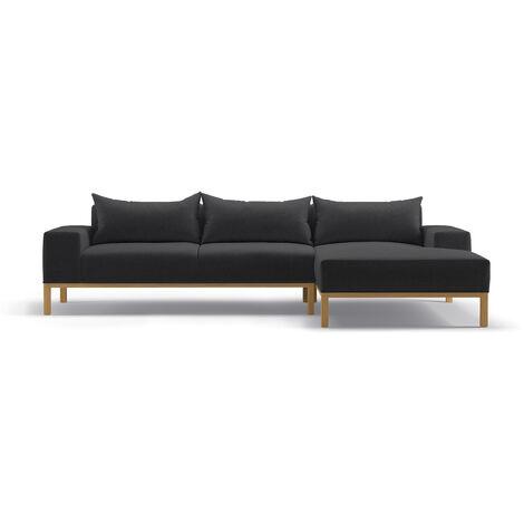 Adam - L Shaped Chaise Sofa - Right - Dark Grey