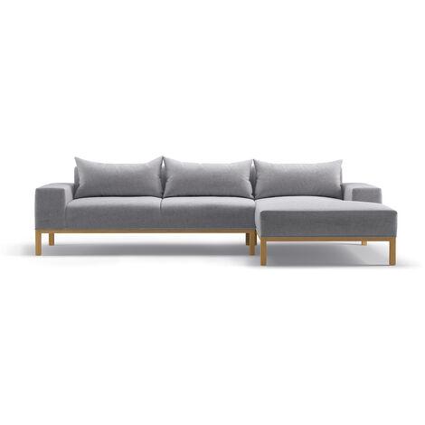 Adam - L Shaped Chaise Sofa - Right - Soft Light Grey
