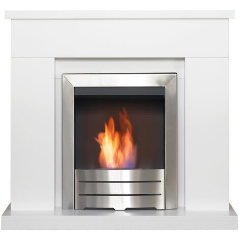 Adam Lomond Fireplace Suite in Pure White with Colorado Bio Ethanol Fire in Brushed Steel, 39 Inch