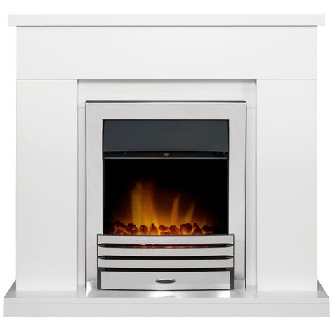Adam Lomond Fireplace Suite in Pure White with Eclipse Electric Fire in Chrome, 39 Inch