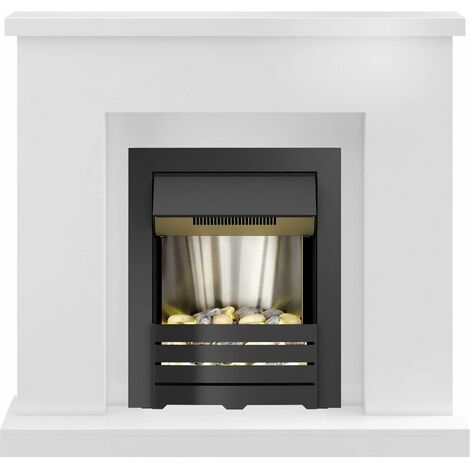 Adam Lomond Fireplace Suite in Pure White with Helios Electric Fire in Black, 39 Inch