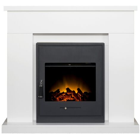 Adam Lomond Fireplace Suite in Pure White with Oslo Electric Fire in Black, 39 Inch