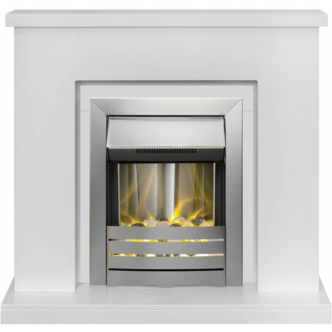 Adam Lomond White Surround Fireplace Stove Fire Heater Heating Suite Flame Steel