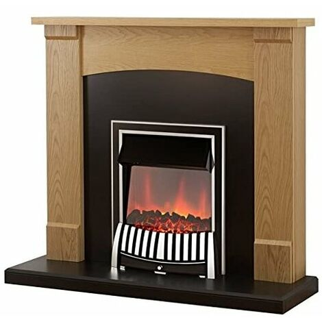 Adam Lonsdale Fireplace Suite in Oak with Elan Electric Fire in Chrome, 48 Inch