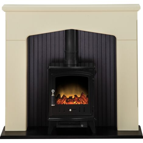 Adam Ludlow Stove Suite in Stone Effect with Aviemore Electric Stove in Black Enamel 48 Inch