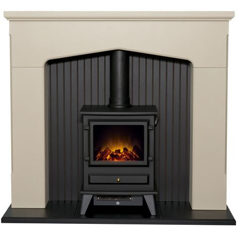 Adam Ludlow Stove Suite in Stone Effect with Hudson Electric Stove in Black, 48 Inch