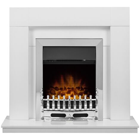 Adam Malmo in Pure White & Black/Pure White with Blenheim Electric Fire in Chrome, 39 Inch