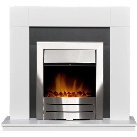 Adam Malmo in Pure White & Black/Pure White with Colorado Electric Fire in Brushed Steel, 39 Inch