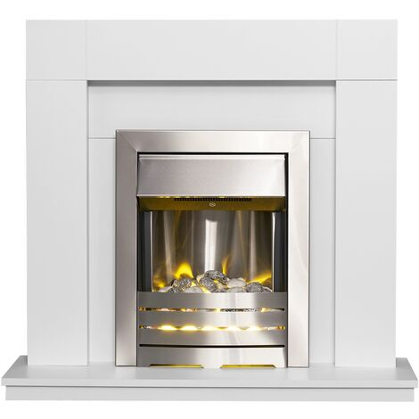 Adam Malmo in Pure White with Helios Electric Fire in Brushed Steel, 39 Inch