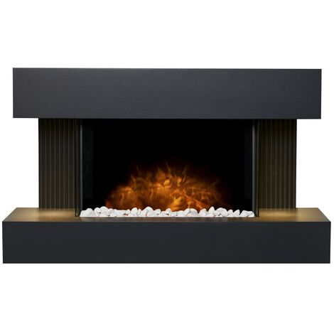 Adam Manola Wall Mounted Electric Fire Suite with Downlights & Remote Control in Charcoal Grey
